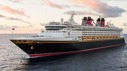 The Disney Magic cruise ship, sailing in open waters