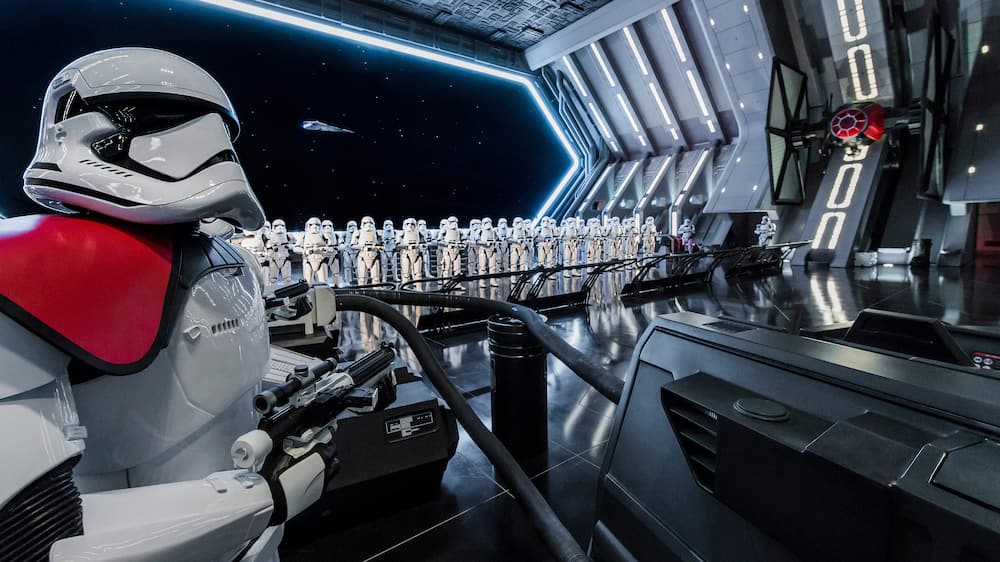 Stormtroopers standing in formation in a docking bay