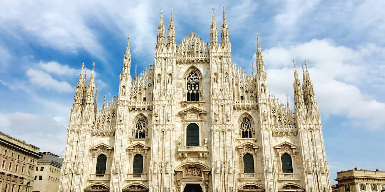 The front of Milan Cathedral in Milan, Italy