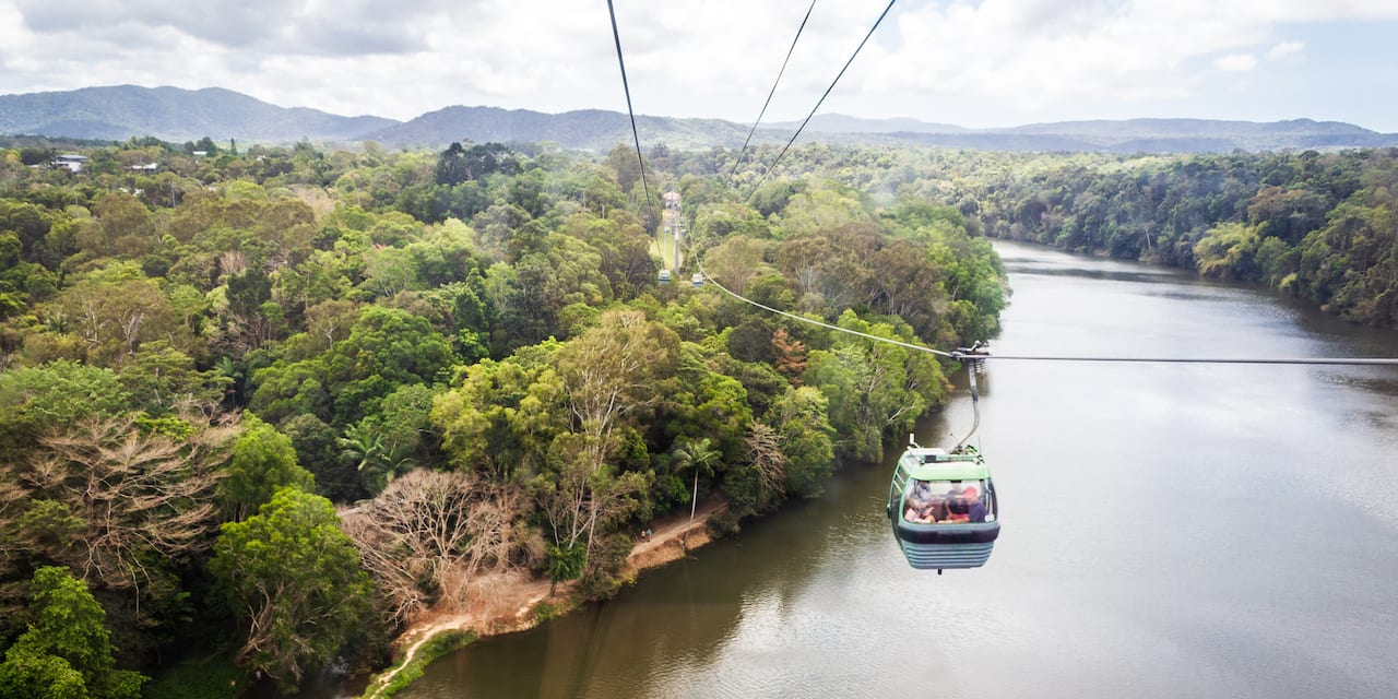 Several gondolas on the skyrail over a river and trees
