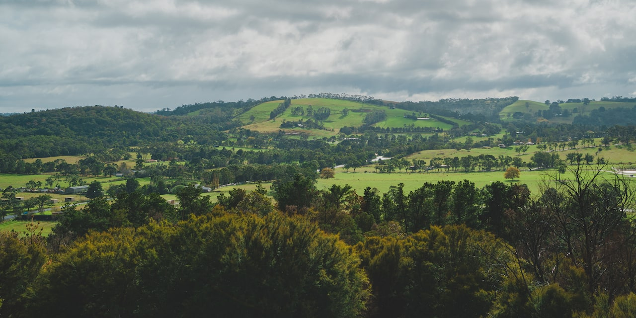 Lush green hills of rural Victoria