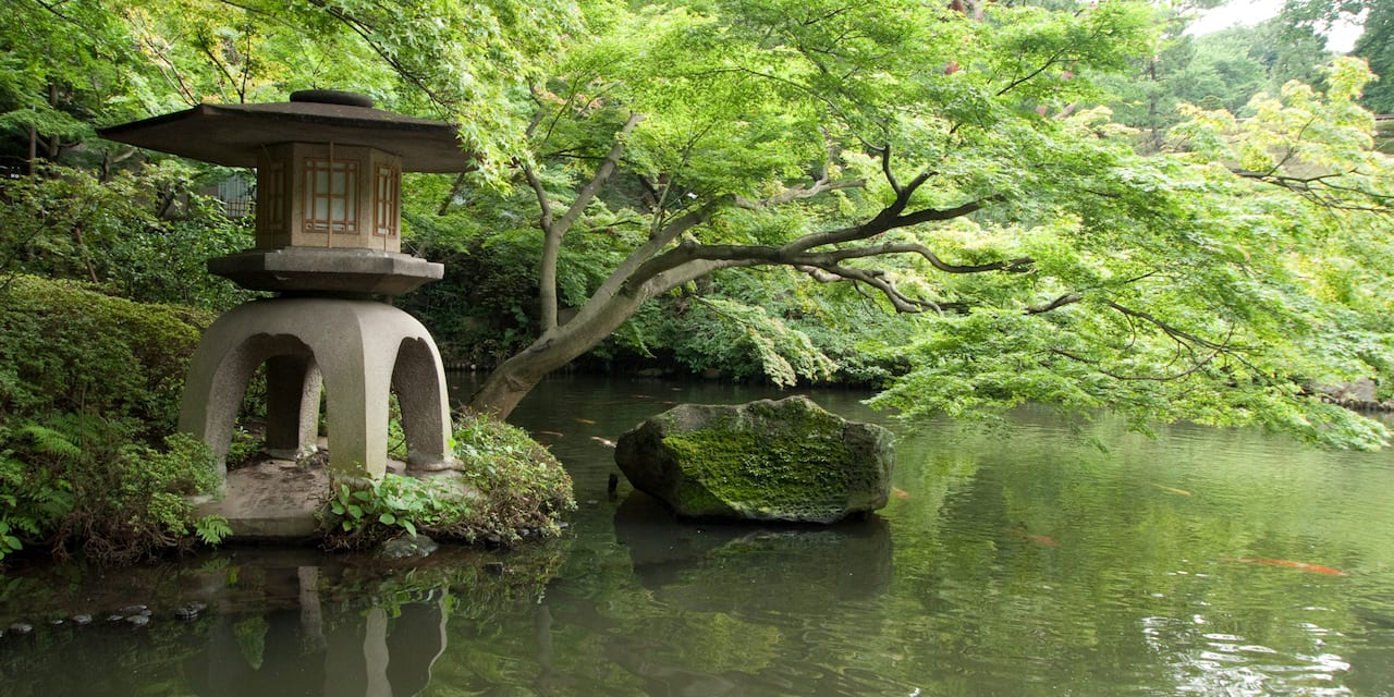A Japanese pagoda sculpture stands beside a tree and rock near a river filled with koi fish in a garden