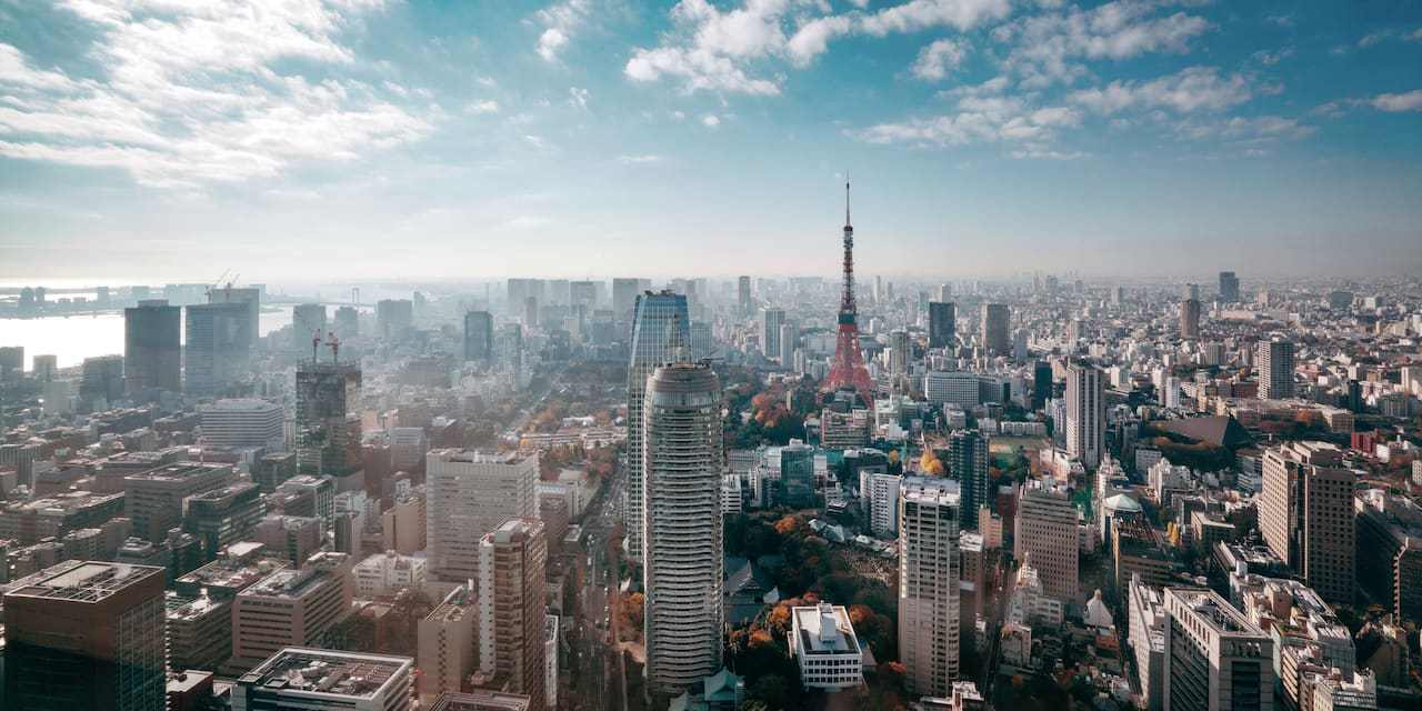 The Tokyo skyline on a cloudy day
