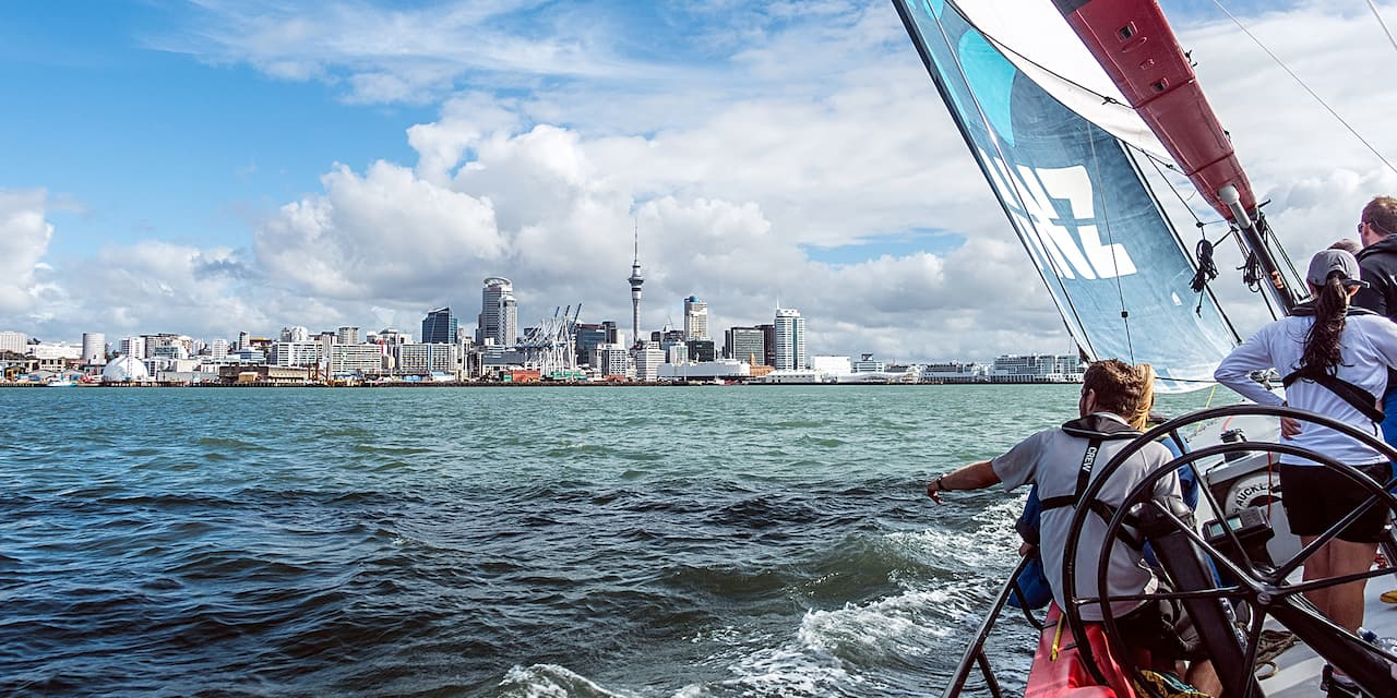 Sail boats sail in the harbor across from the Auckland, New Zealand sky line