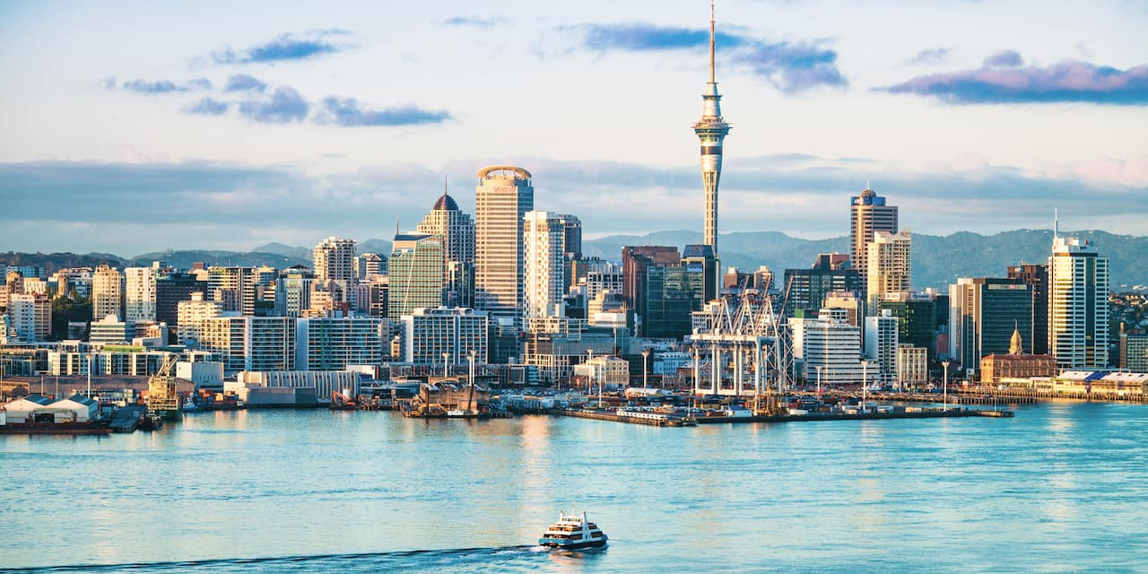 The skyline of Auckland, New Zealand as seen from the harbor