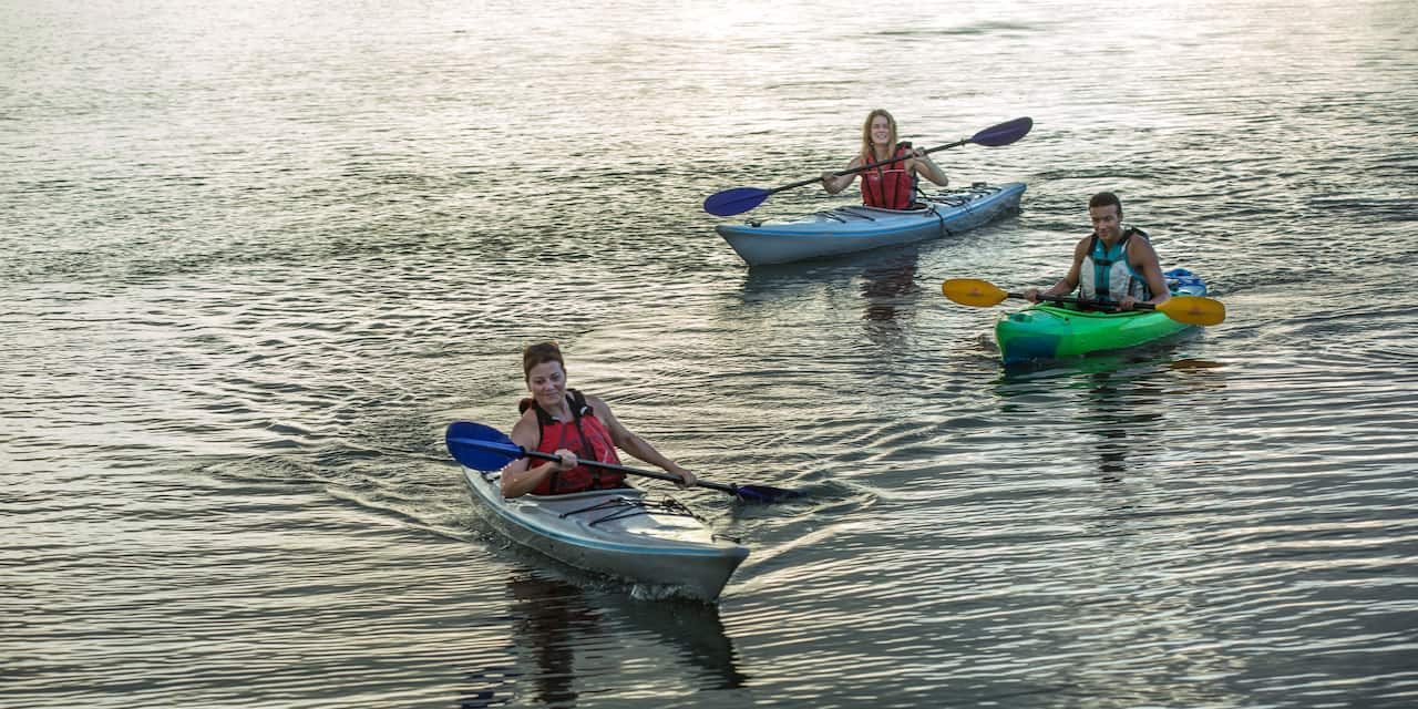 Two women and a man paddle kayaks on the water