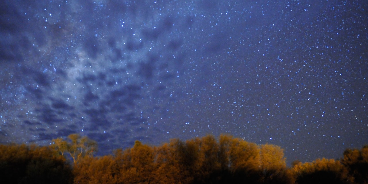 The night sky filled with stars