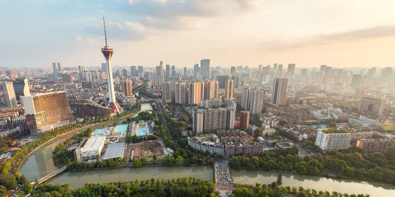 The Jin River flows through the city of Chengdu, China
