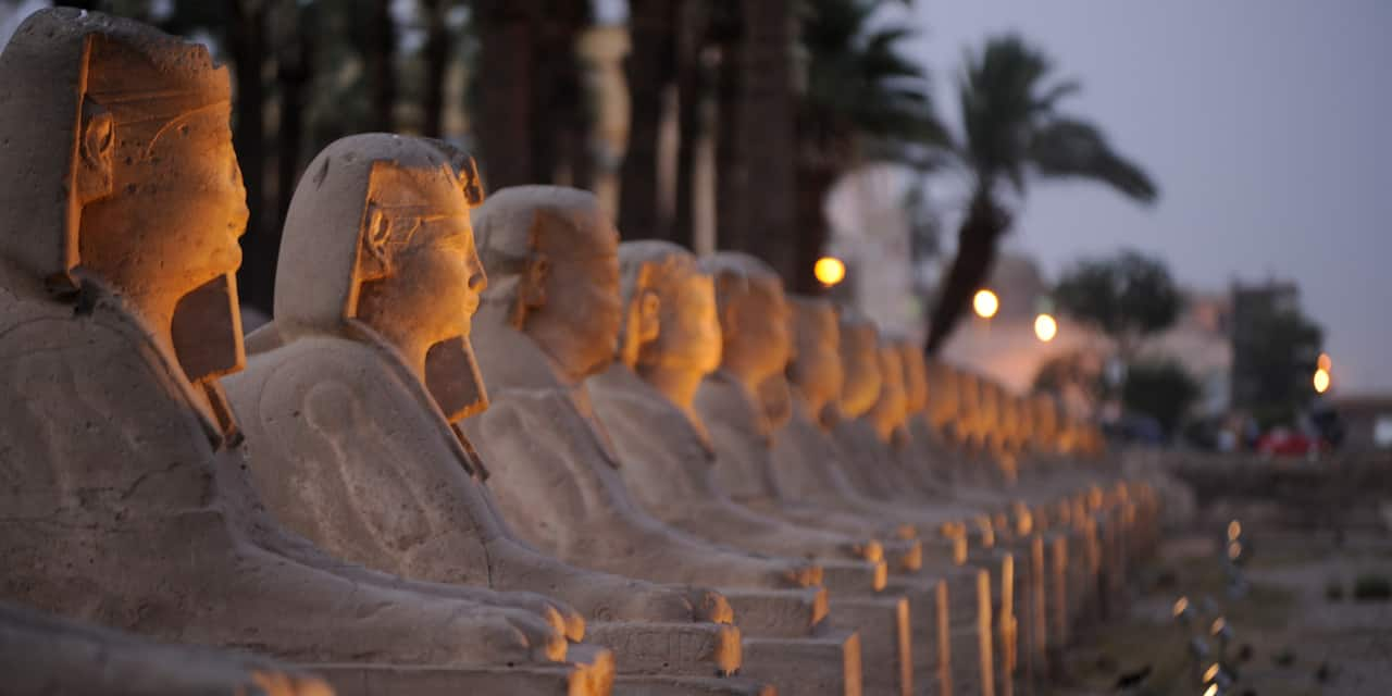 A row of Sphinx-like sculptures at Luxor Temple