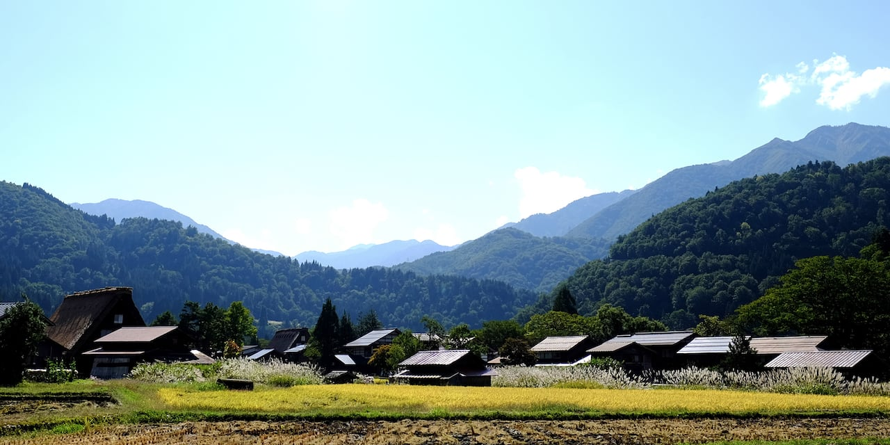 Structures of Shirakawa-go village nestled in the tree-covered mountains