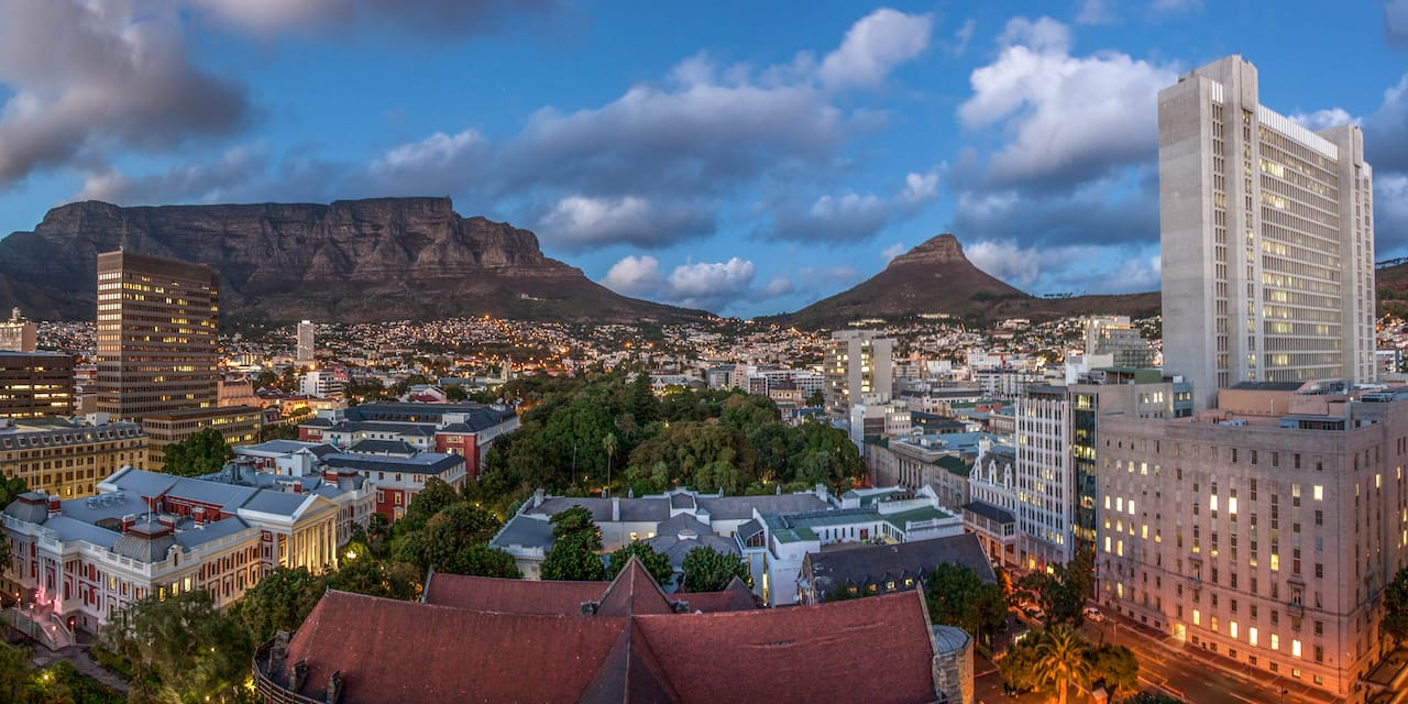 Table Mountain and the skyline of Cape Town, South Africa