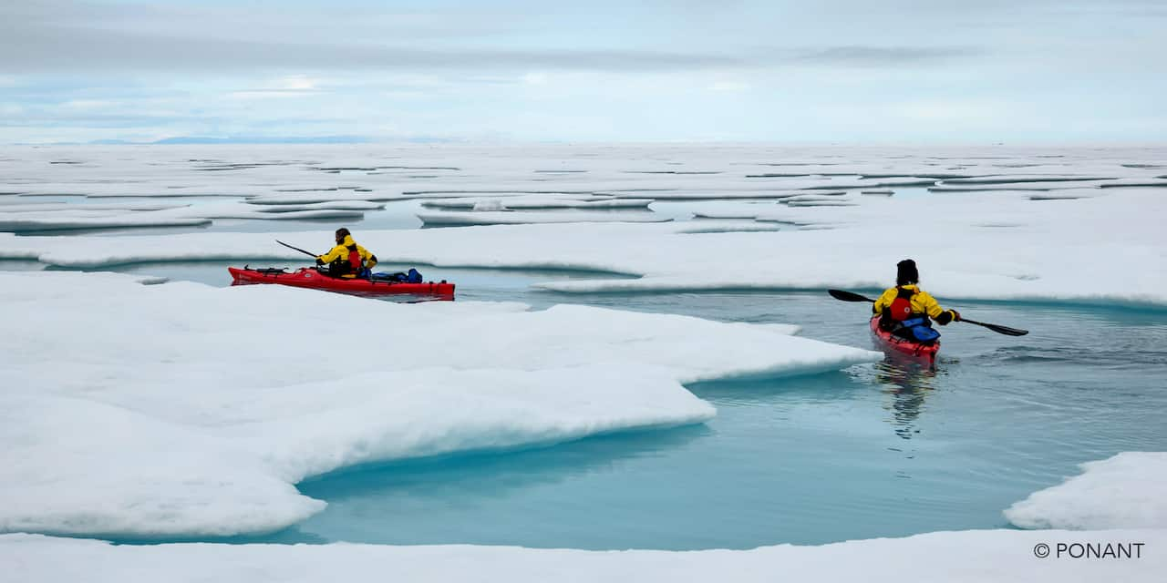 Two kayakers navigate ice floes in the Southern ocean