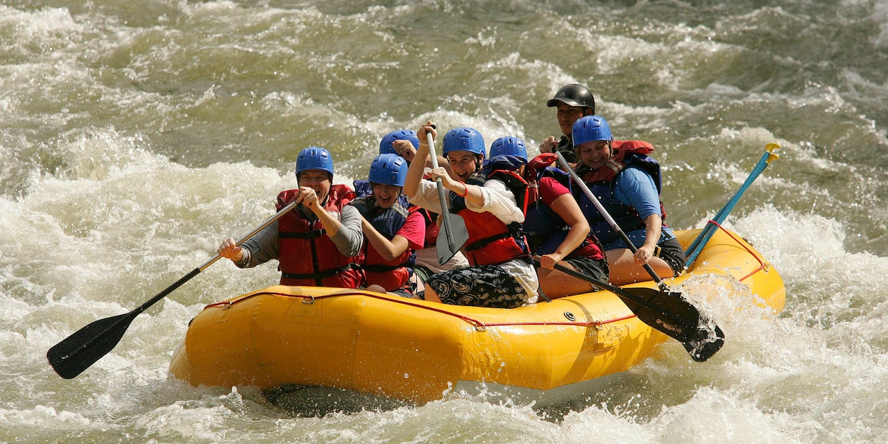 Adventurers rafting on the Sarapiquí River