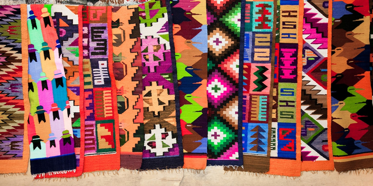 Colorful textile samples hanging on a line