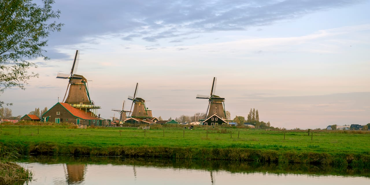 Windmills along a grassy waterway