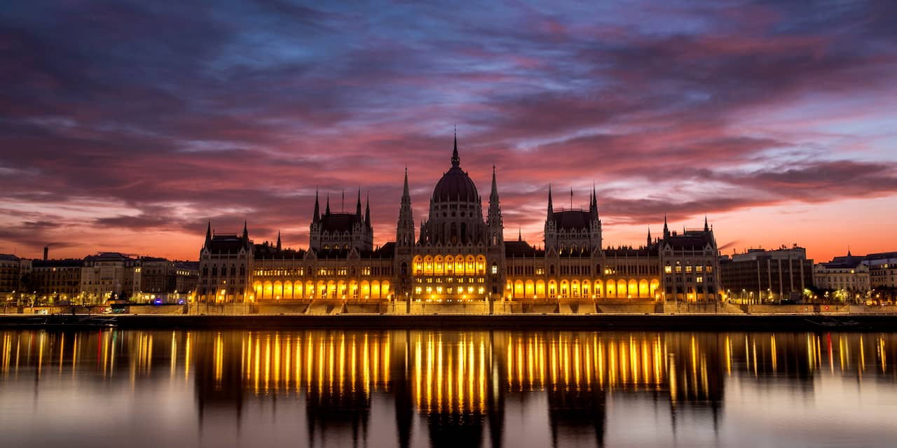 The Hungarian Parliament Building in Budapest, Hungary lit up at night