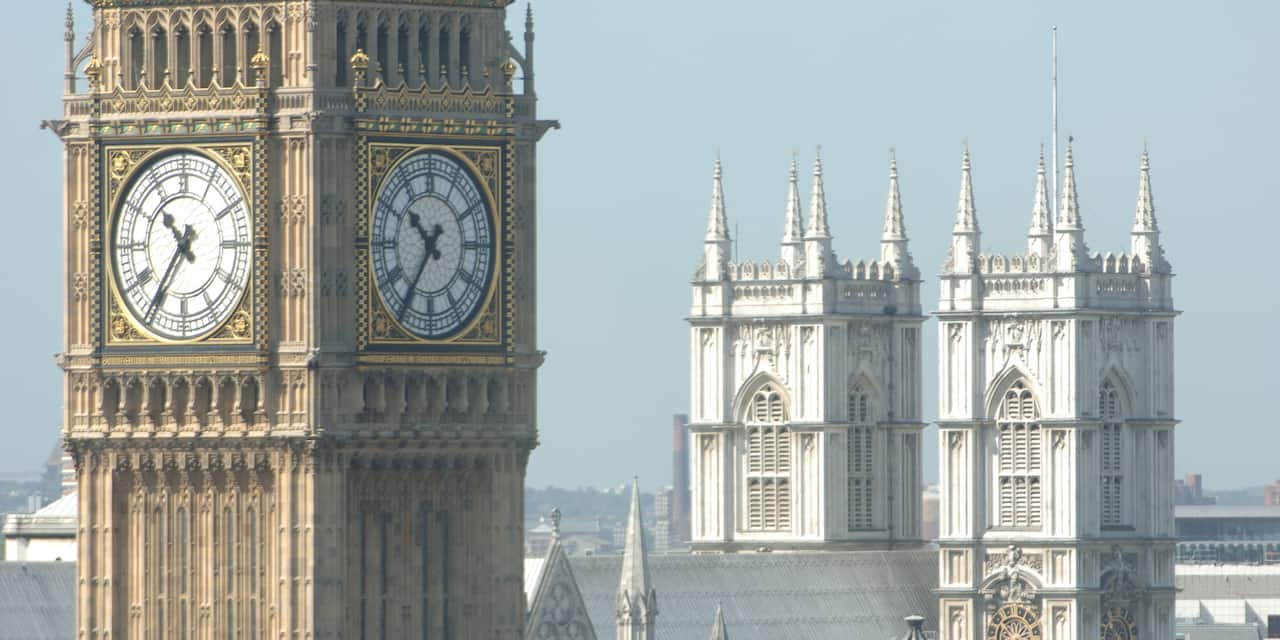 The tower clock, Big Ben, with Westminster Abbey in the background