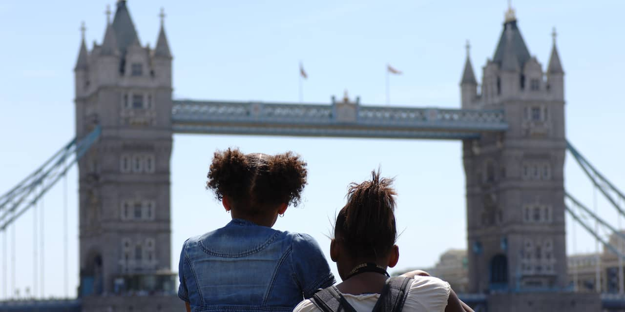 Two girls look at the Tower Bridge