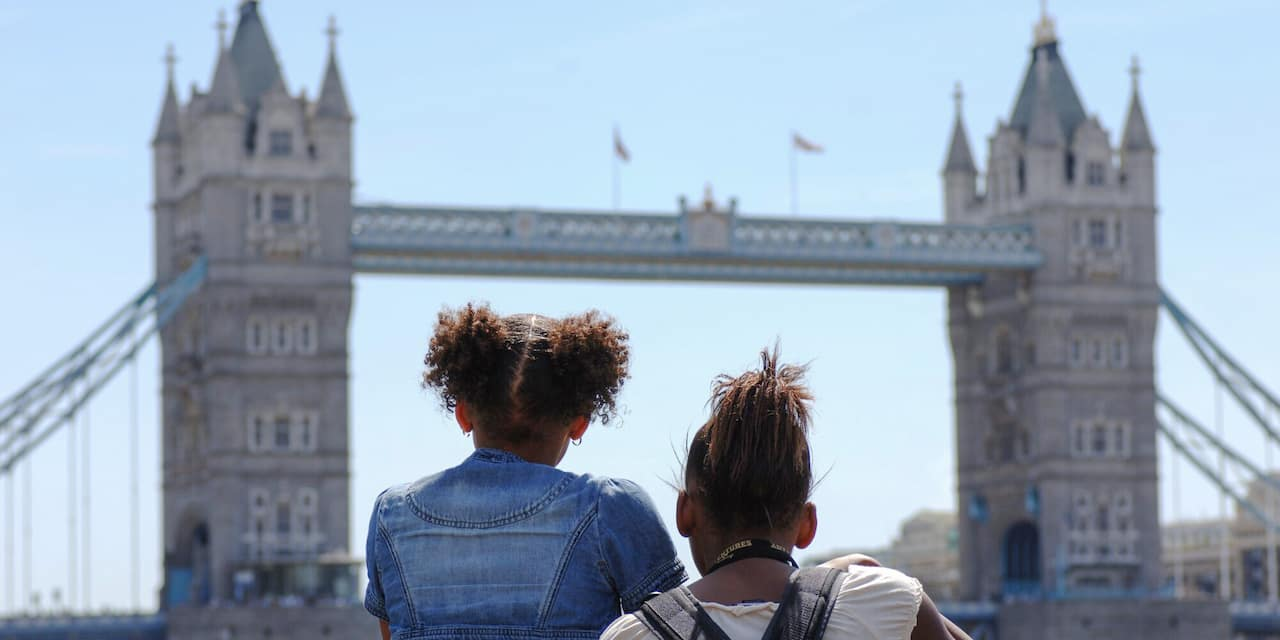 Two girls looking at Tower Bridge