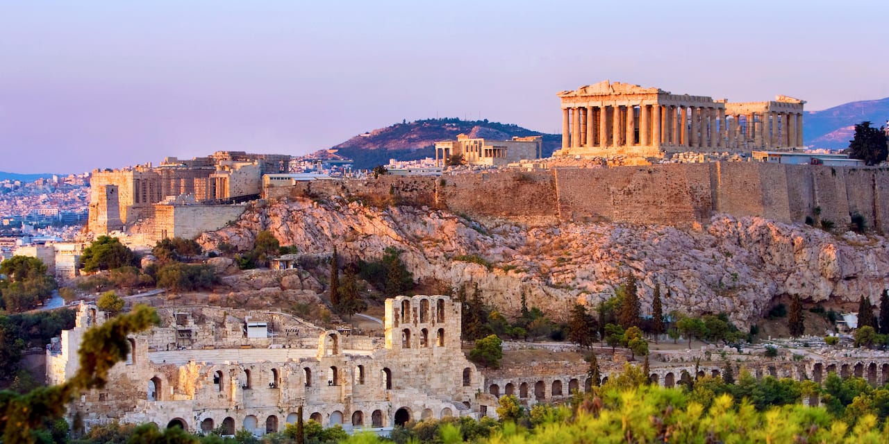 The Acropolis sits atop a rugged hill