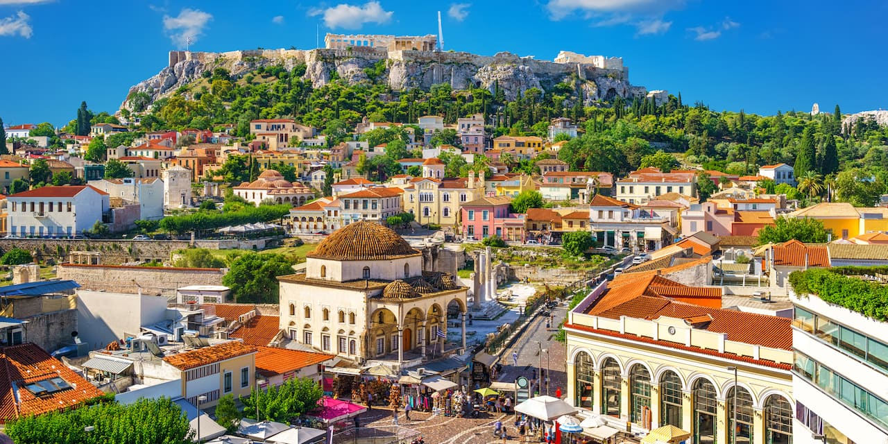 Roofs of Athens with the Acropolis on a hill above