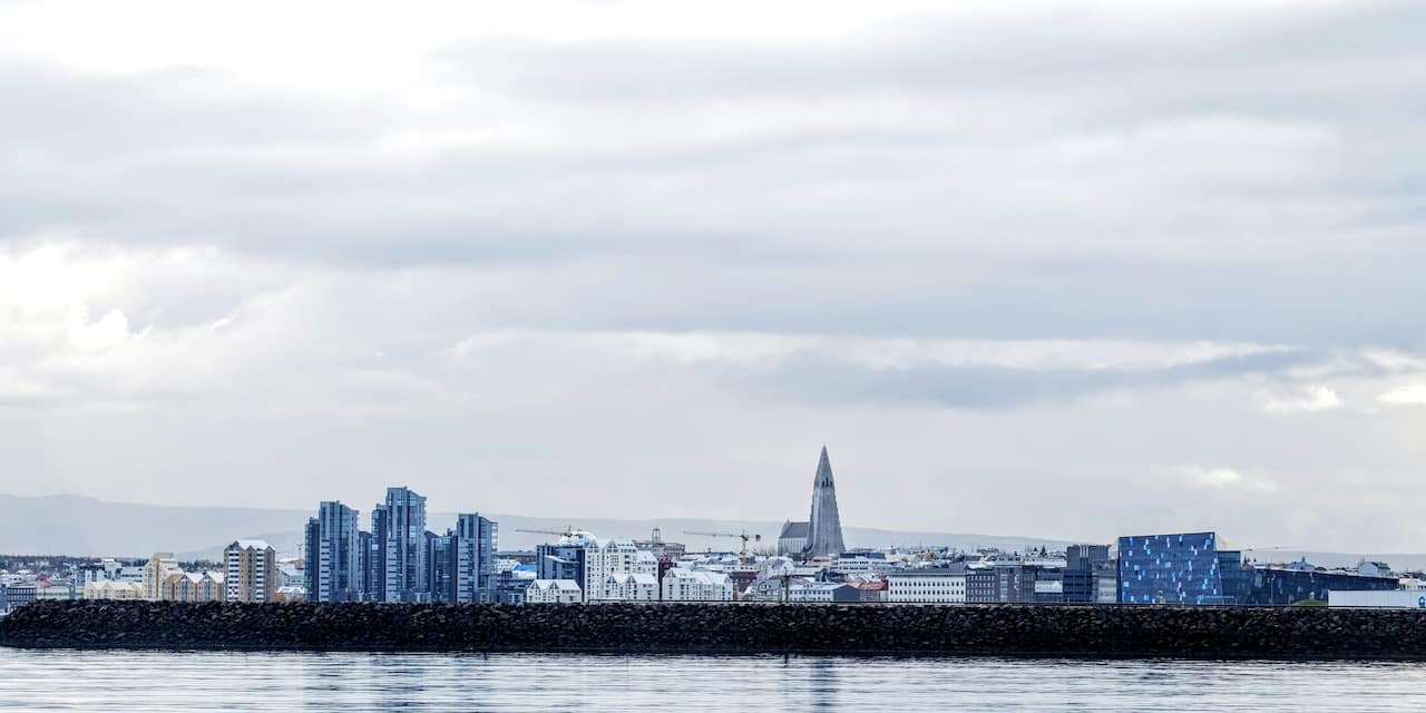 The skyline of Reykjavik taken from across the lake