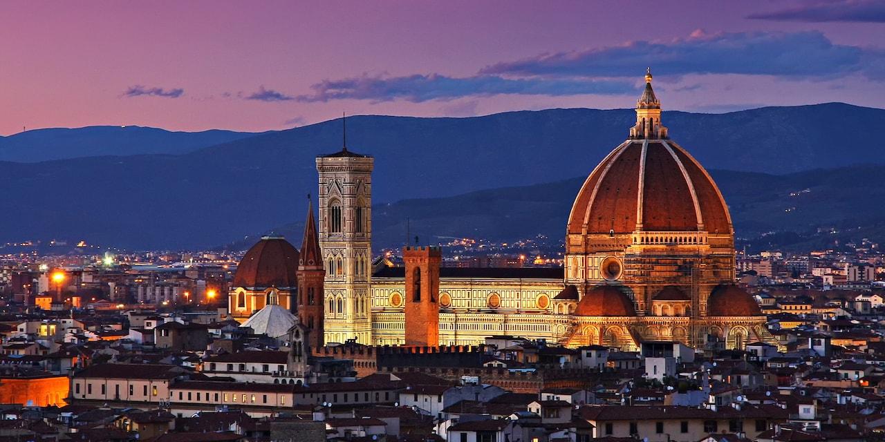 Italy's Cathedral of Santa Maria del Fiore, the Duomo, at night