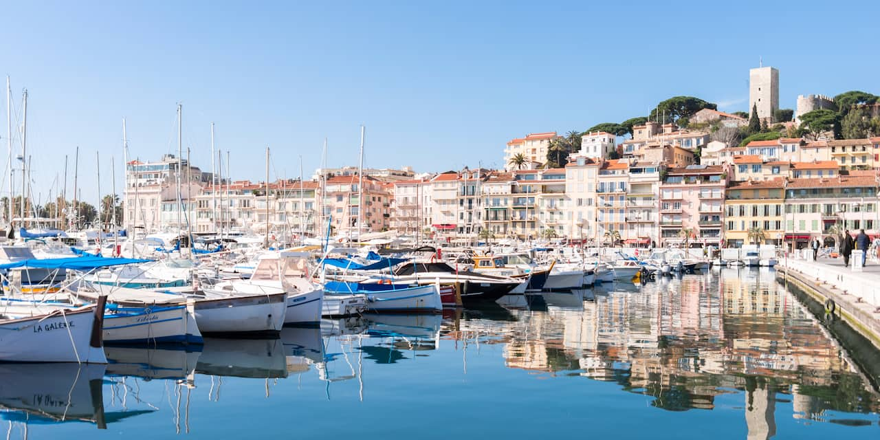 Boats docked in the harbor of Cannes, France