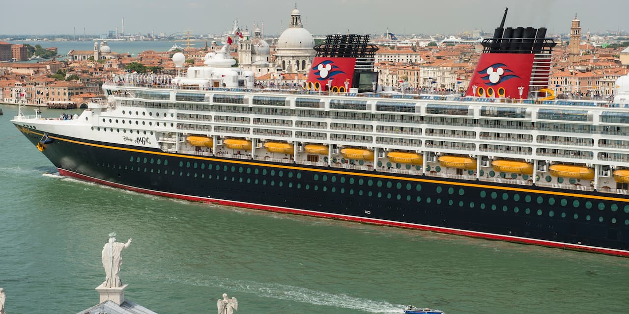 The Disney Magic cruise ship sails in the waters near Venice, Italy