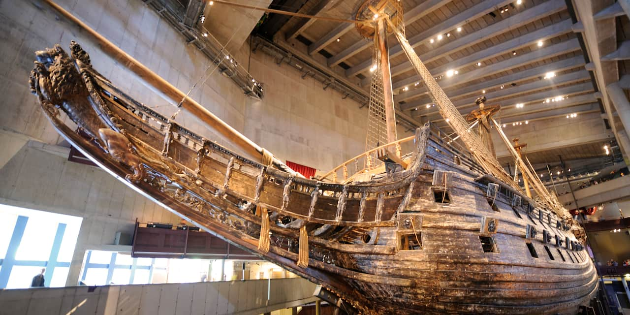 An old sailing ship on display at the Vasa Museum in Stockholm, Sweden