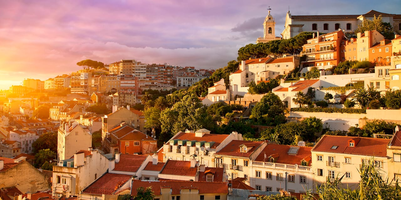 The city of Lisbon at sunset
