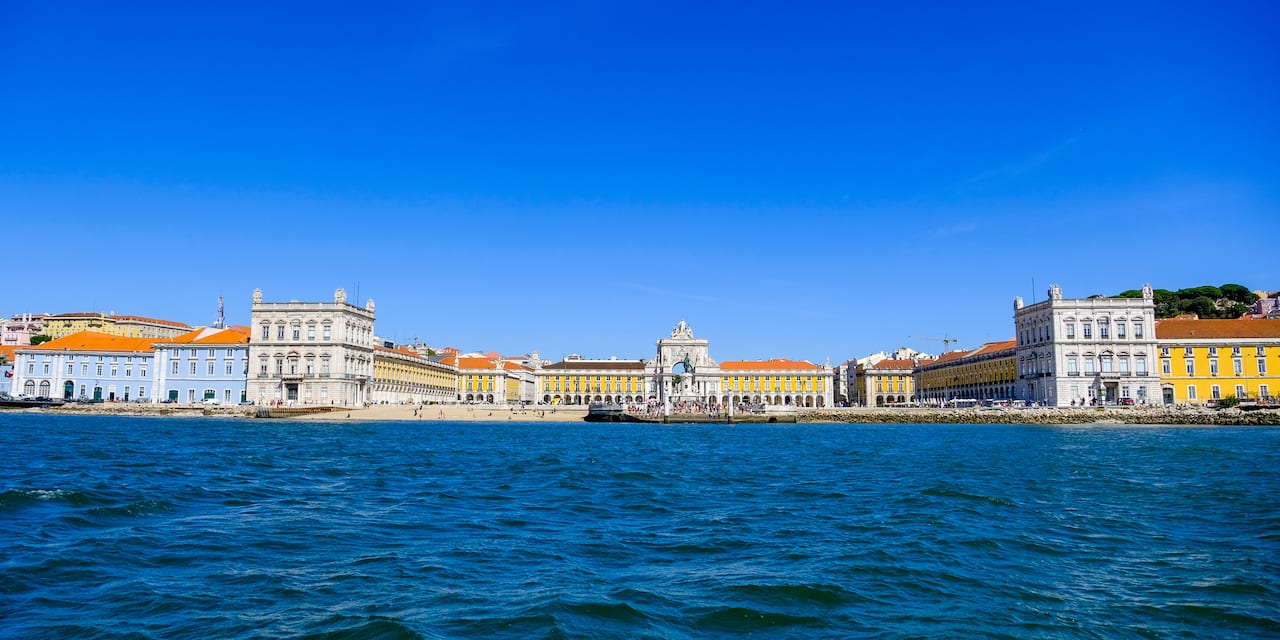 The Lisbon waterfront as seen from the river