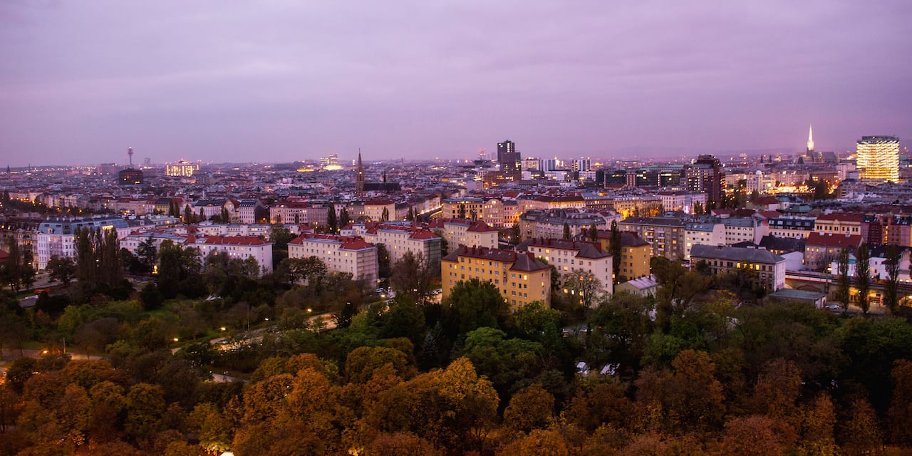 A bird's eye view of Vienna at dusk
