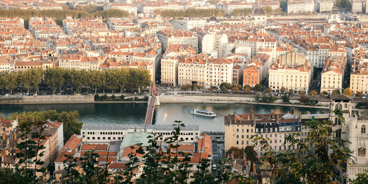 Aerial shot of Lyon with the Rhône River