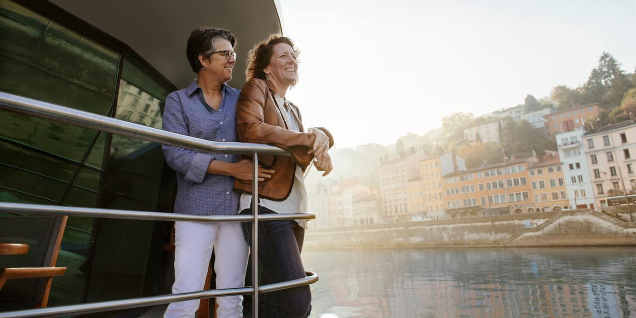Two women at the railing of a river cruise ship