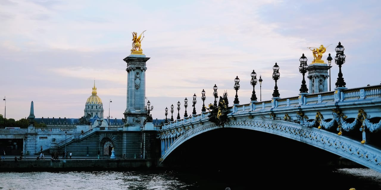 The elegant Pont Alexandre III bridge in Paris, France
