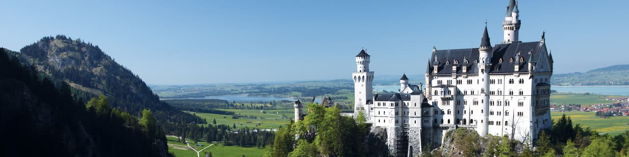 Germany's Neuschwanstein Castle and the surrounding countryside