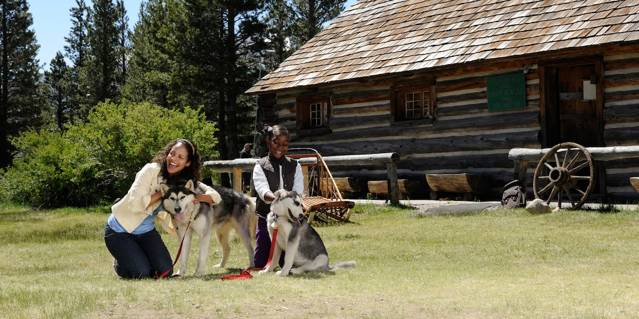 A mother and daughter pet 2 Siberian Huskies outside a log cabin