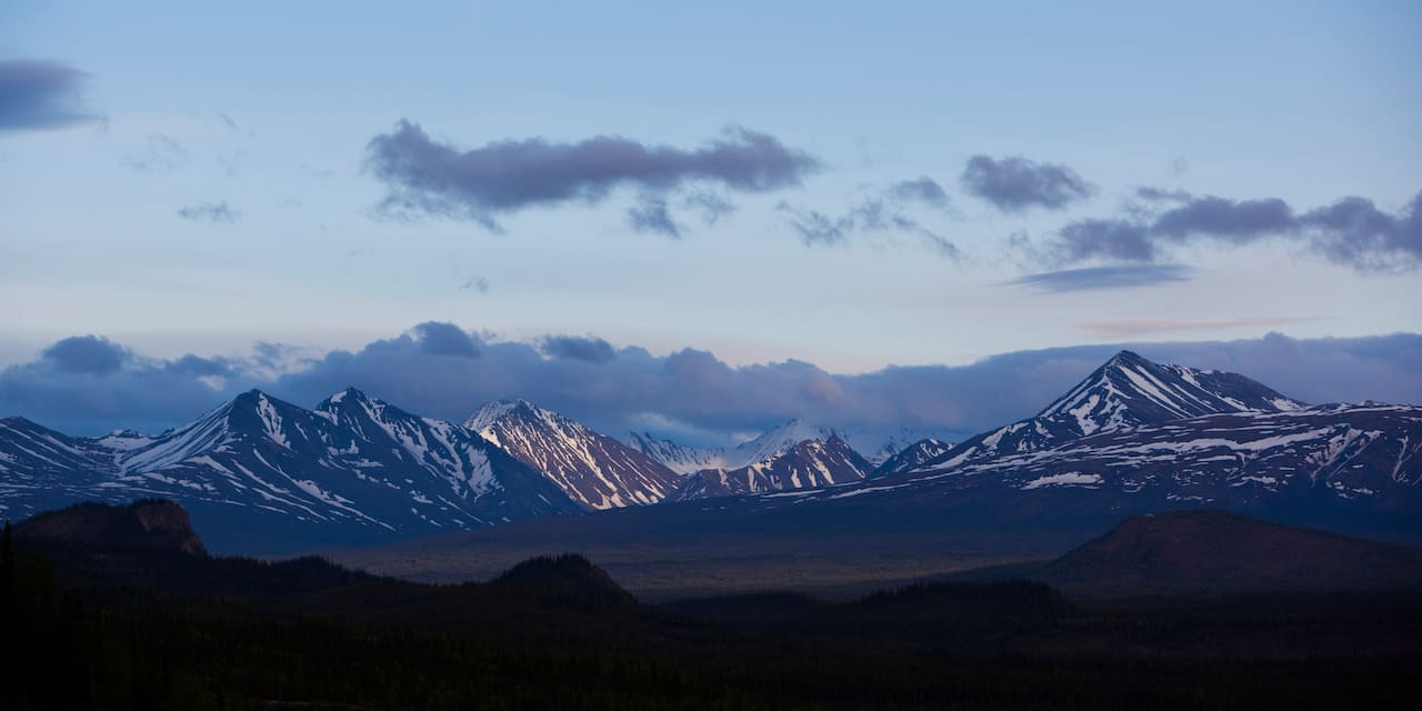 A scenic mountain range at twilight