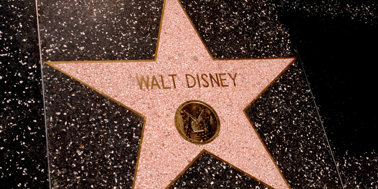 Walt Disney's star on the Walk of Fame sidewalk in Hollywood, California