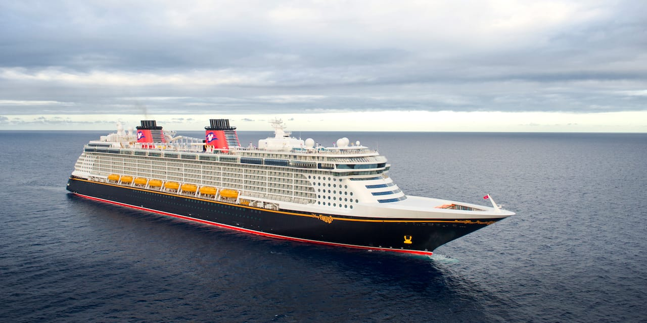 The Disney Fantasy cruise ship at sea