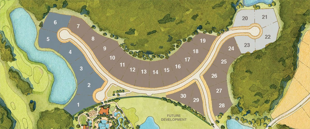 Map of Four Seasons Private Residences Orlando showing 3 collections and 30 future homesites