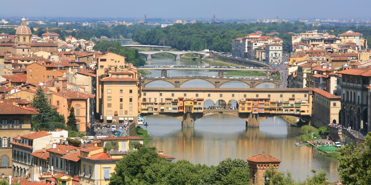 Several bridges crossing a river with buildings of a city on both shores