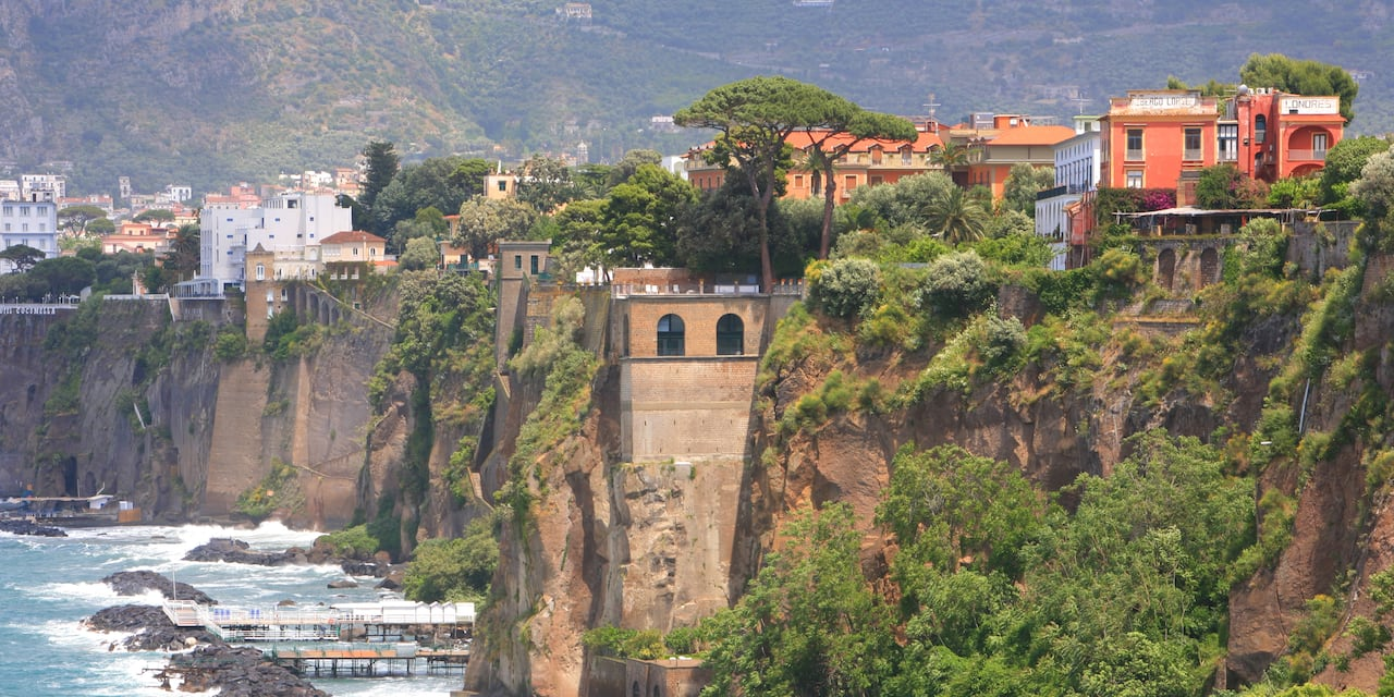 The cliffs of Sorrento at the Bay of Naples, Italy