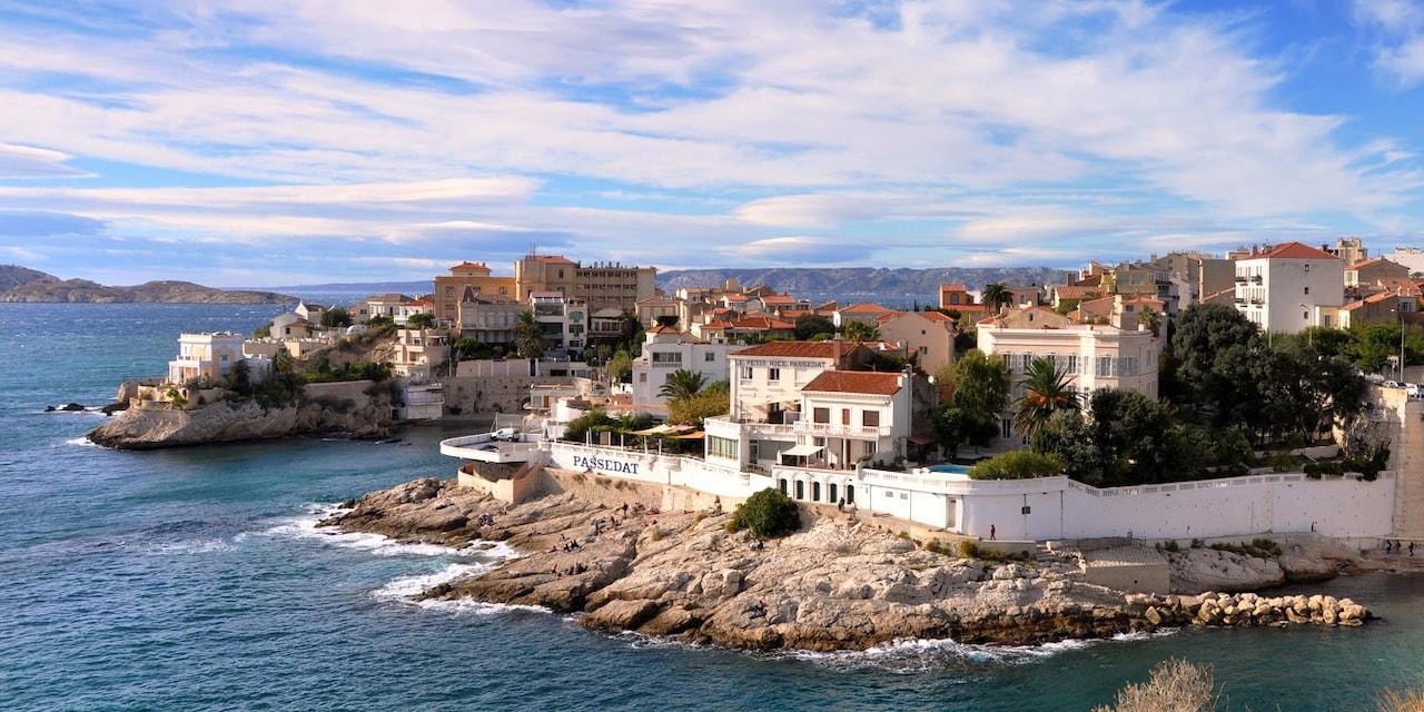 The seaside city of Marseille, France with the Président John Kennedy Bridge