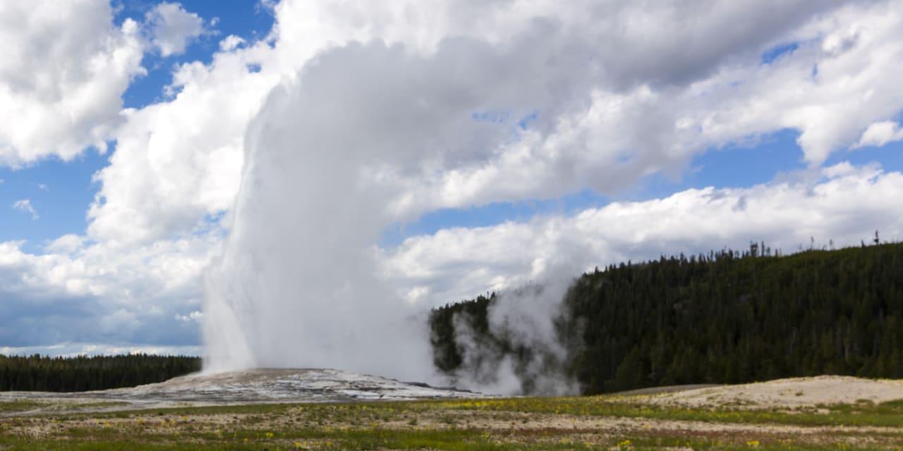 Water spraying from a geyser