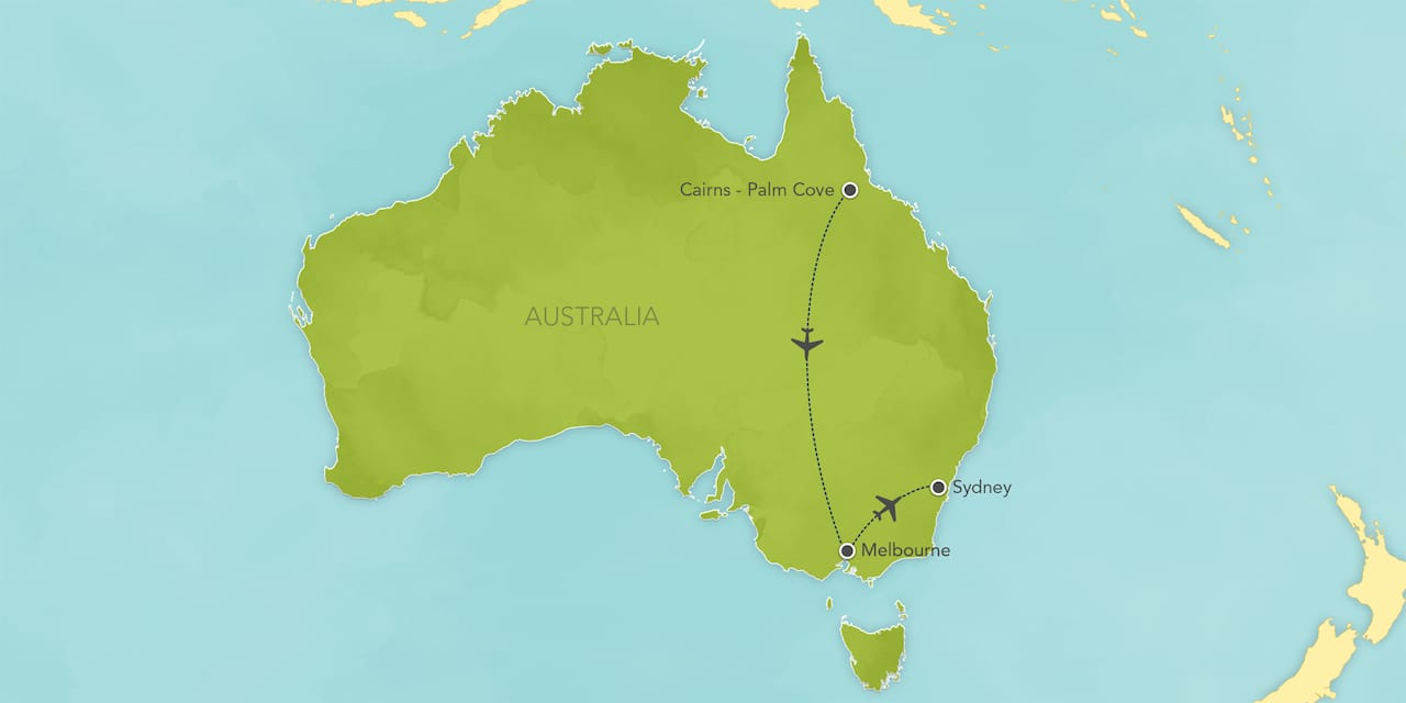 Interactive map of Australia, showing a summary of each day's activities.