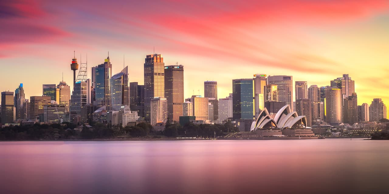 The Sydney skyline at sunset