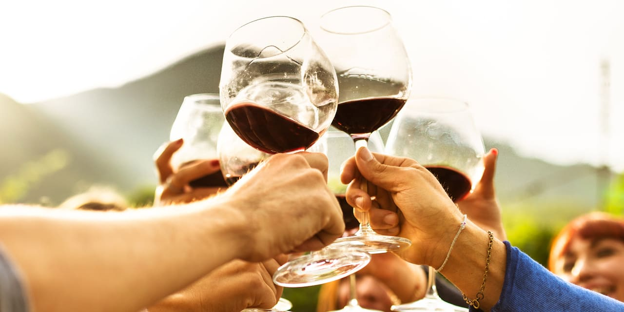 Several wine glasses are raised up in a toast