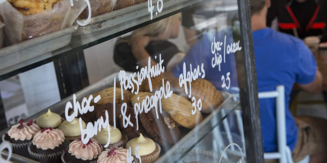 Shelves filled with an assortment of pastries in a glass case with the prices written on the glass